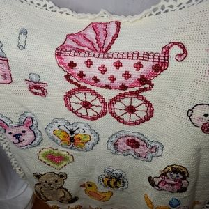 Vintage knit  baby quilt with fleece back